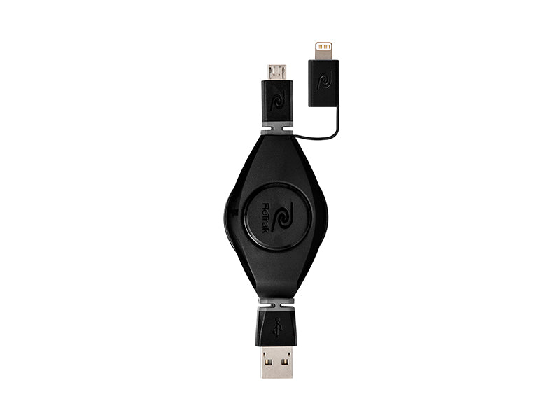 Retractable Lightning Cord + Premier Micro USB Charge & Sync Cable | Black
