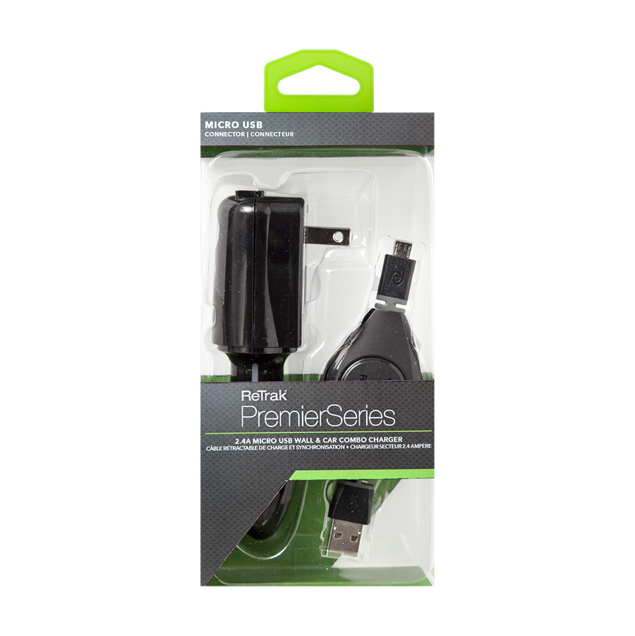 Micro USB Car and Wall Charger | Car Charger + Wall Charger 2.4A | Retractable Micro USB Cable