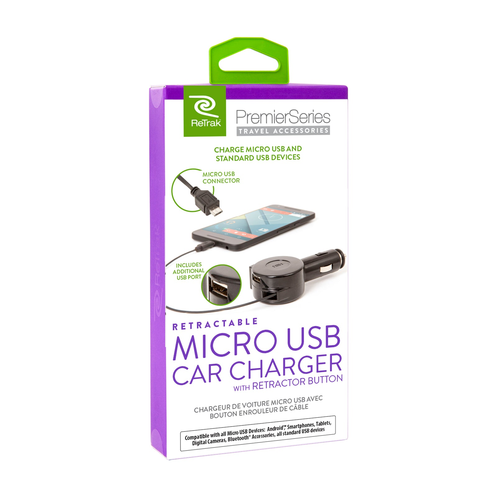 Micro USB Car Charger | Retractable Micro USB Charging Cable