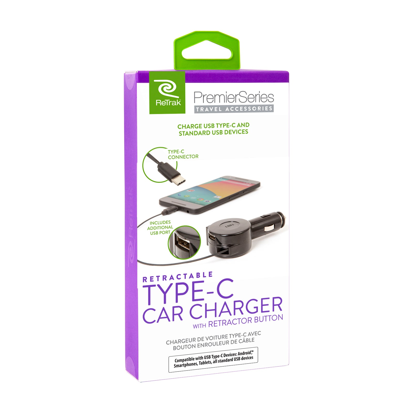 USB-C Car Charger | Retractable Cable + Extra USB Port | Car Charger USB C