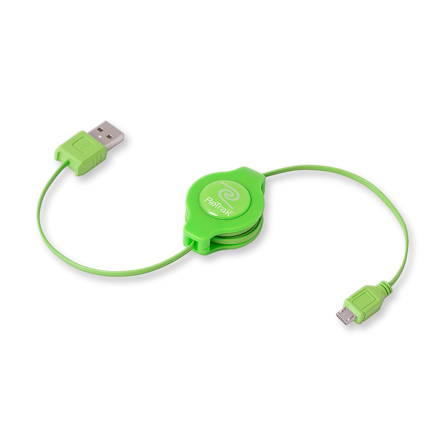 Micro USB Charger Cord | Retractable Micro USB Cable | Green