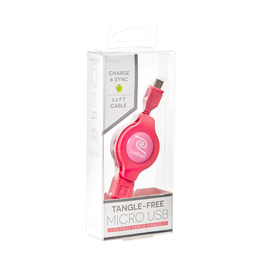 Micro USB Charging Cable | Retractable Micro USB Cord | Pink