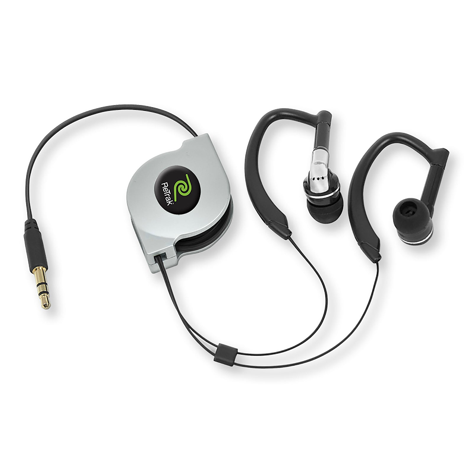 Over-the-ear Headphones | Sports Wrap Earbuds | Retractable Cord | Silver