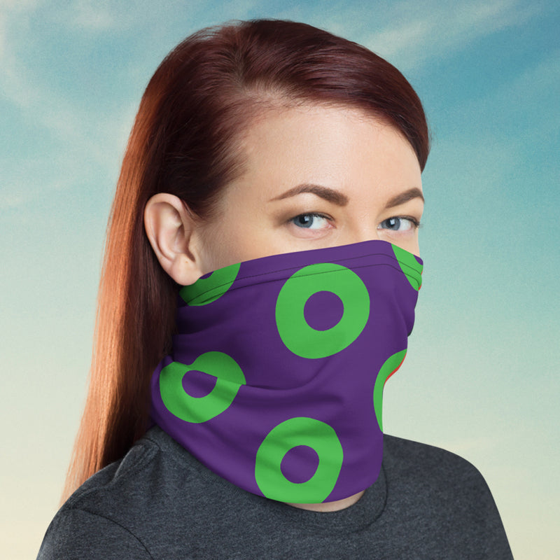 Donut Neck gaiter/FaceShield - Purple & Green