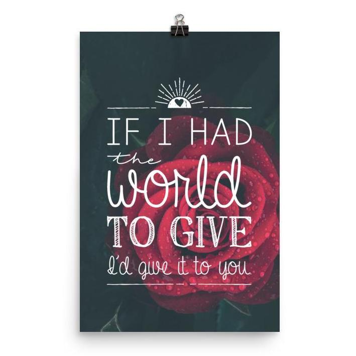 Lyrics Poster - If I Had The World To Give