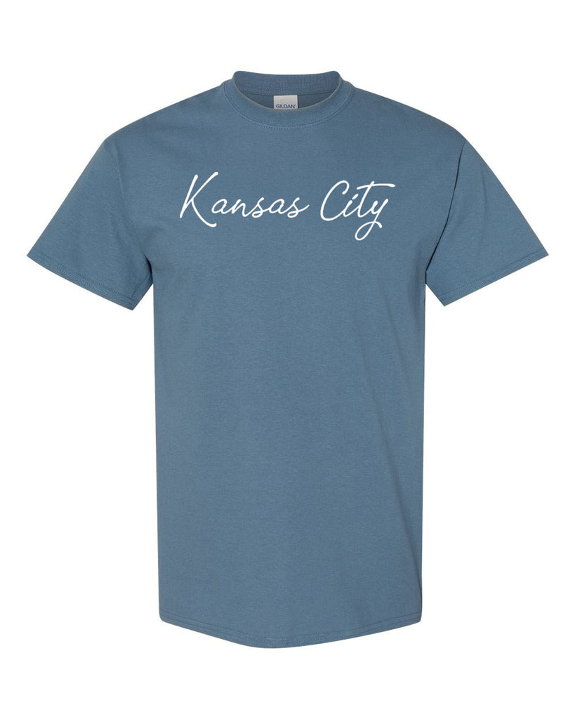 Kansas City Cursive Tee (Blue Jean)