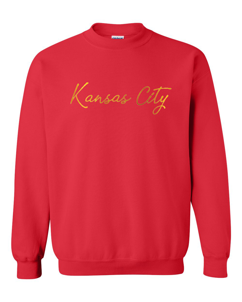Kansas City Cursive Crewneck (Red/Gold)