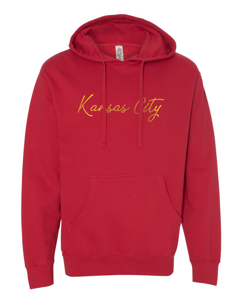 Kansas City Cursive Hoodie (Red/Gold)
