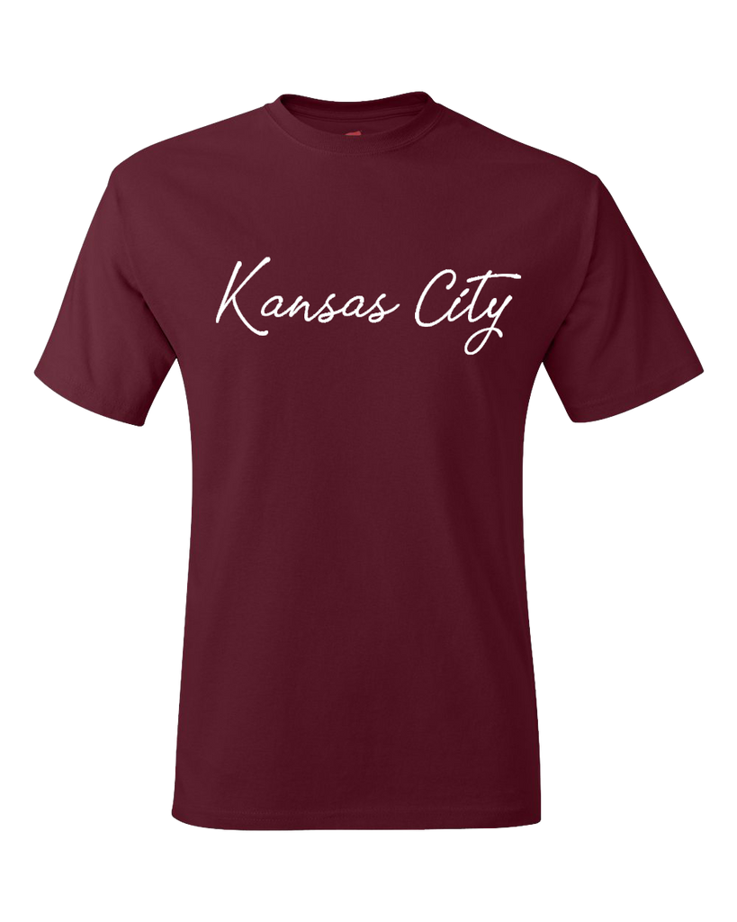 Kansas City Cursive Tee (Maroon)