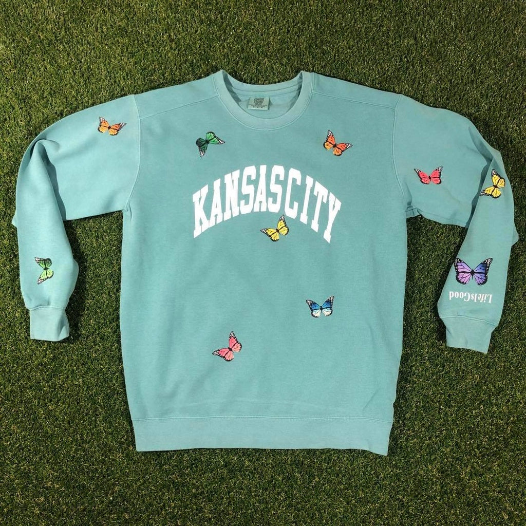 Kansas City Arch Butterfly Crewneck (Summer Green)