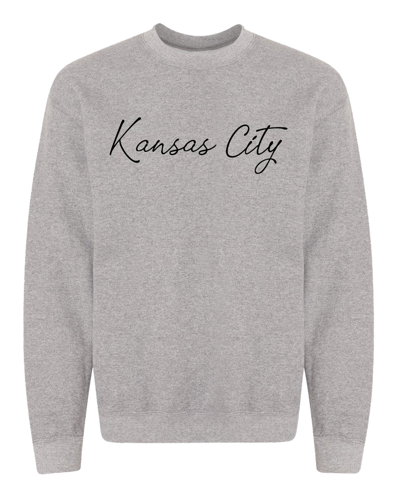 Kansas City Cursive Crewneck (Athletic Heather)