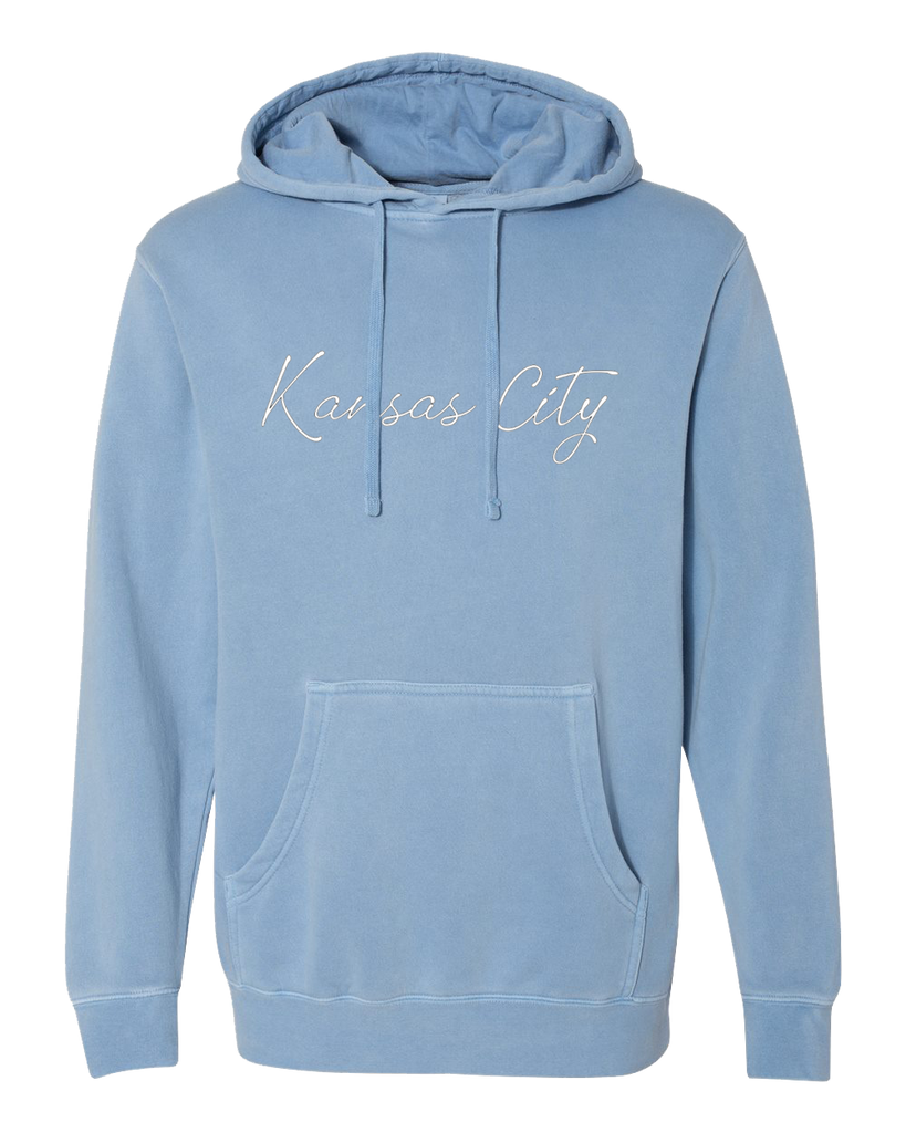 Kansas City Cursive Hoodie (Light Blue)