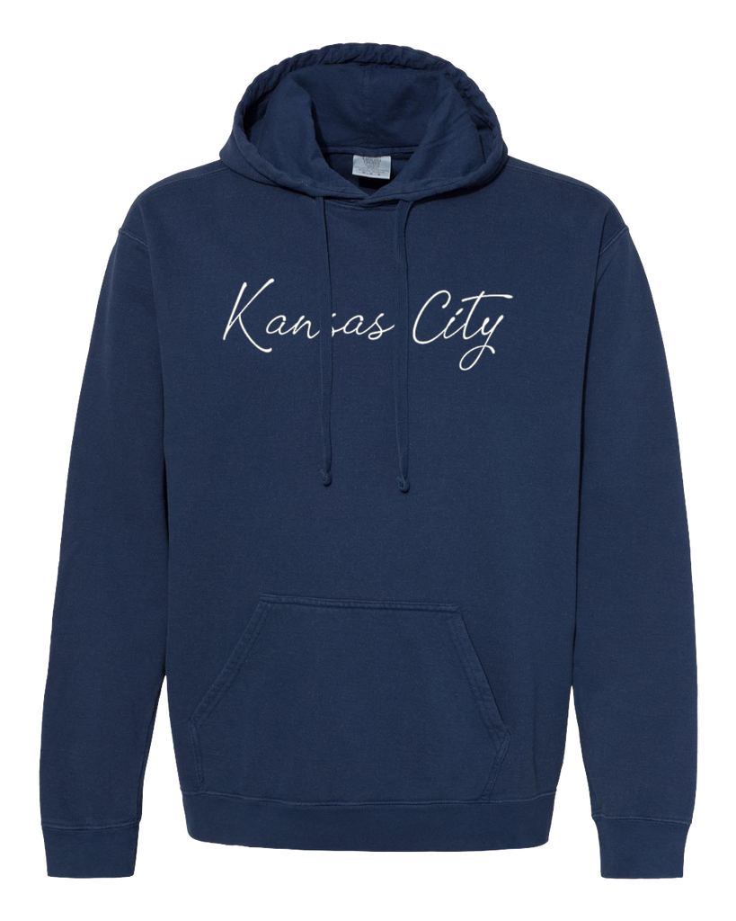 Kansas City Cursive Hoodie (Navy Blue)