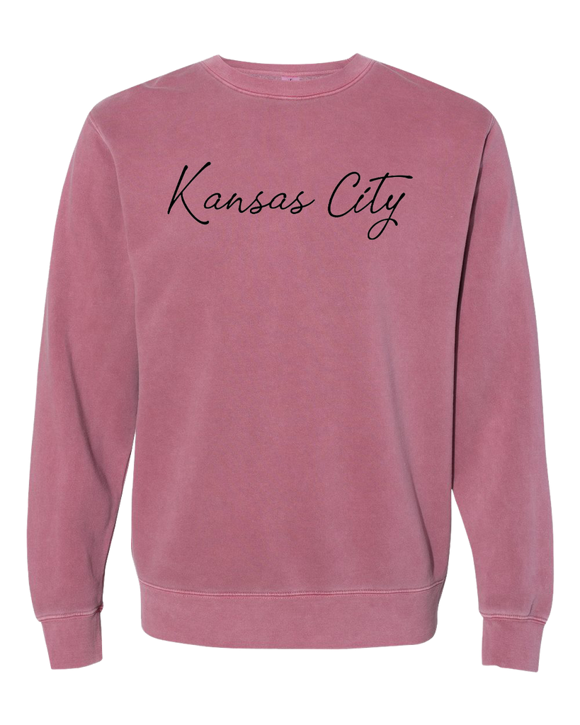 Kansas City Cursive Crewneck (Mauve/Black)