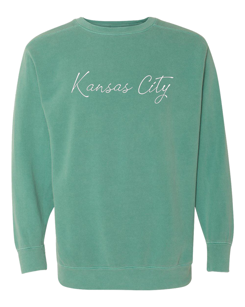 Kansas City Cursive Crewneck (Sea Foam)