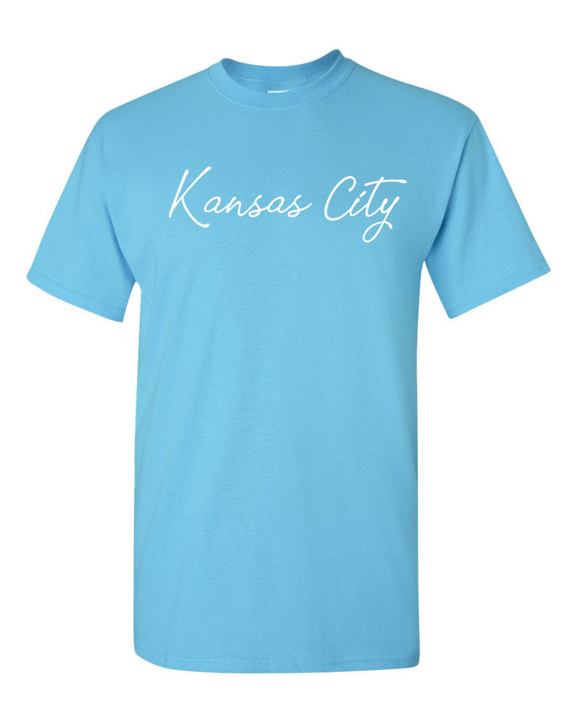 Kansas City Cursive Tee (Sky Blue)