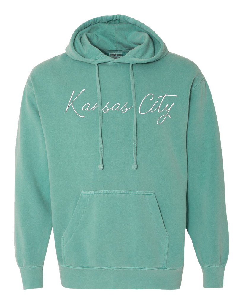 Kansas City Cursive Hoodie (Summer Green)