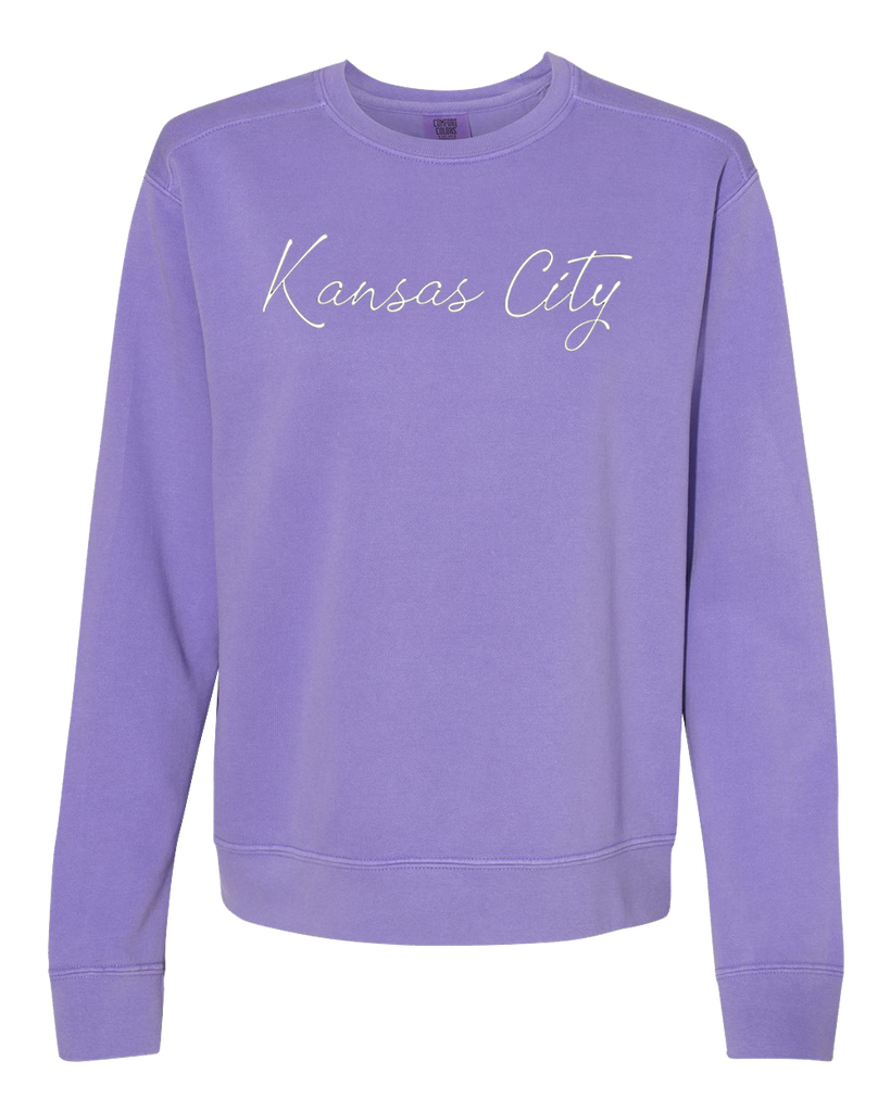 Kansas City Cursive Crewneck (Violet)