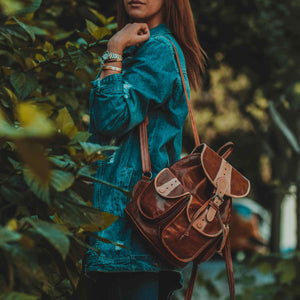 Tribal Moroccan Leather Backpack