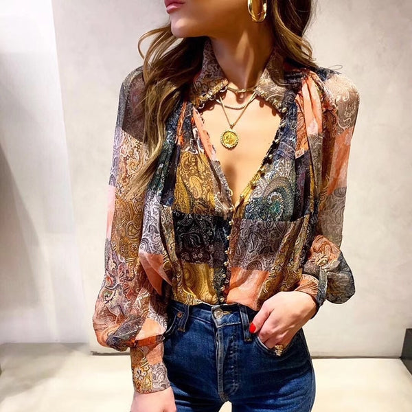 Amy Vintage Printed Blouse (3847238221877)