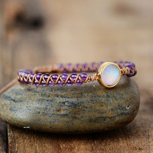 Natural Amethyst & Opal String Braided Bracelet