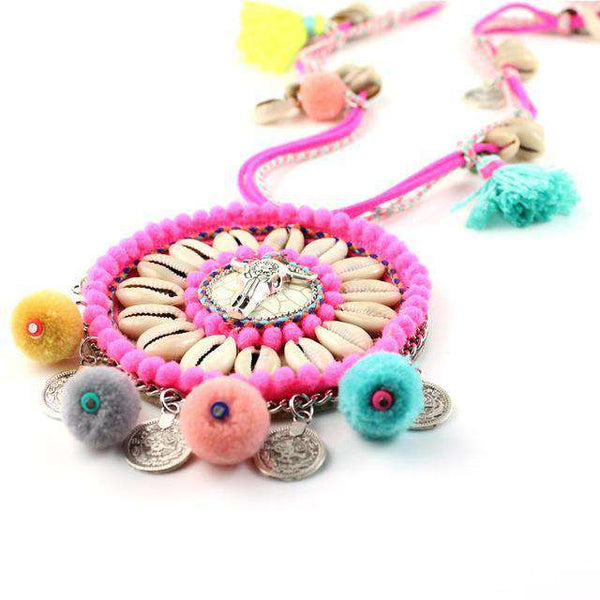 VINTAGE POM POM BEAD NECKLACE