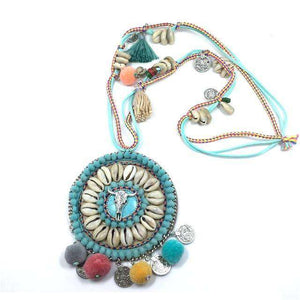 VINTAGE POM POM BEAD NECKLACE (1391946072117)