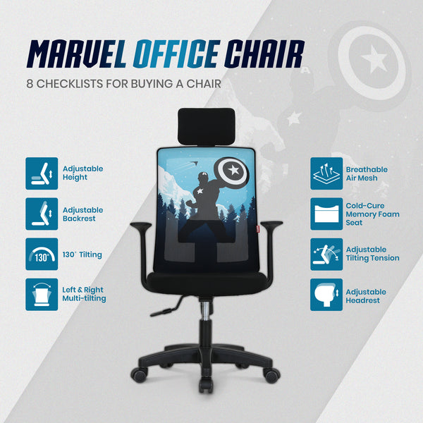 Captain America Desk Chair With Headrest - M10H
