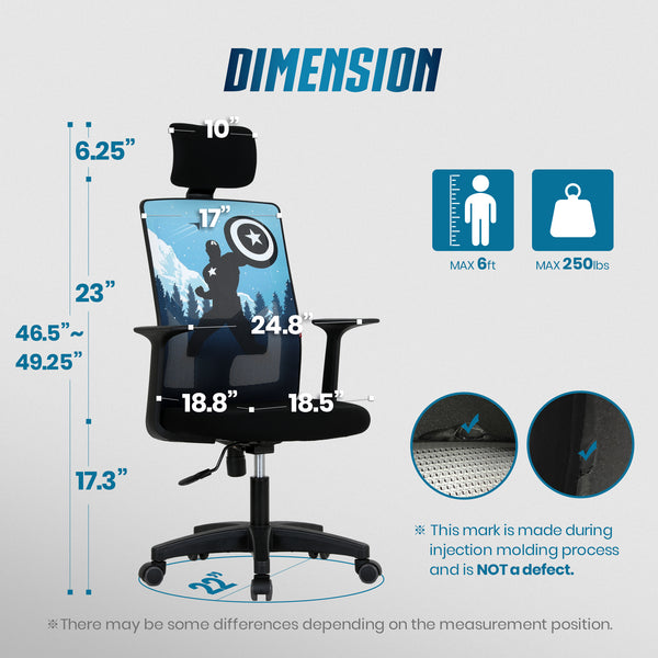 M10H Captain America- Marvel Headrest Office Chair
