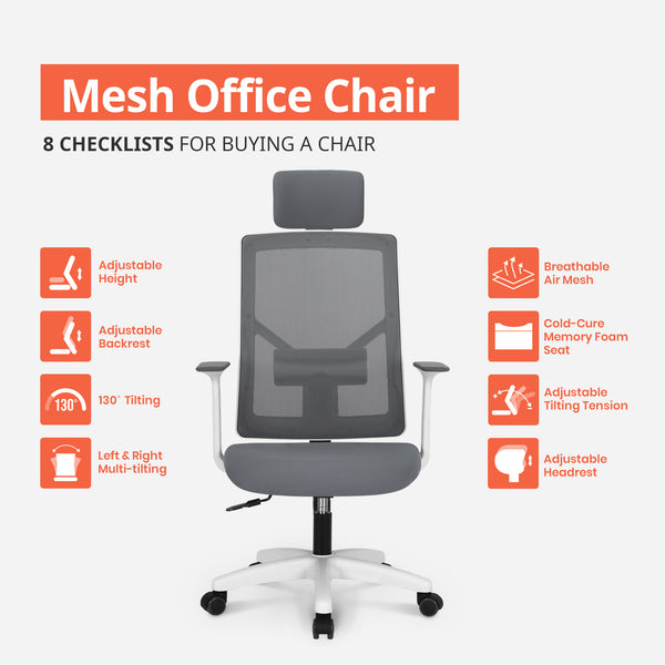 Office Chair With Headrest - M10H Grey