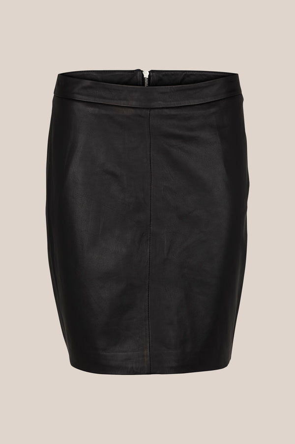 Berry Leather Skirt