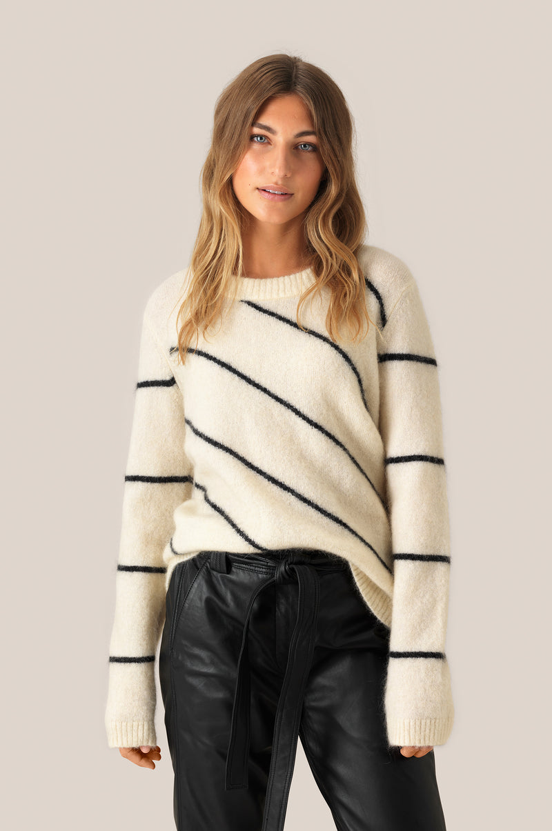 Brook Knit Striped O-Neck