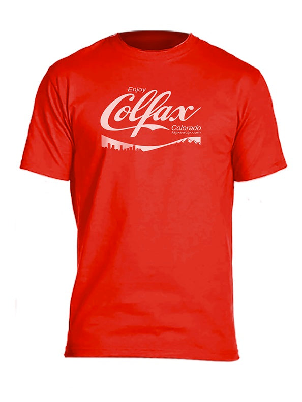 Enjoy Colfax Coca Cola font Myxed Up Denver T-Shirt