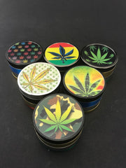 Weed Leaf Metal Herb Grinder Assorted 4pc