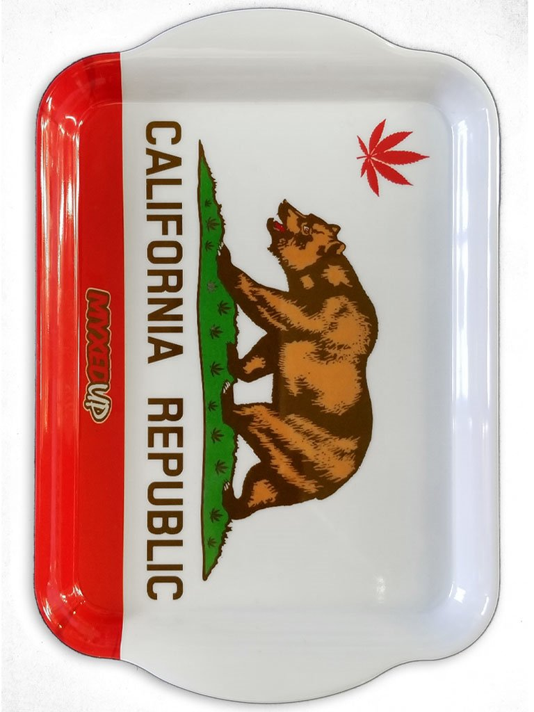 California Republic Weed Leaf Flag Large Myxed Up Rolling Tray