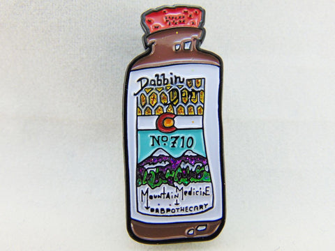 Dabbin' Dan Number 710 Mountain Medicine Dabpothecary Tincture Bottle Hat Pin