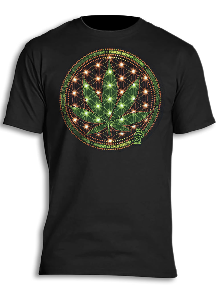 Sacred Geometry Pot Leaf Energy Myxed Up T-Shirt