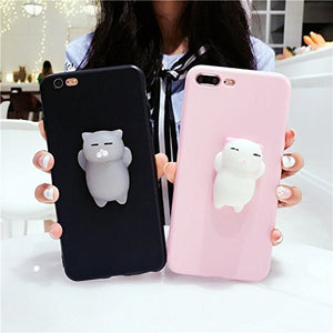 3D Pinch Poke Cat Phone Cases for iPhone 6 & 7