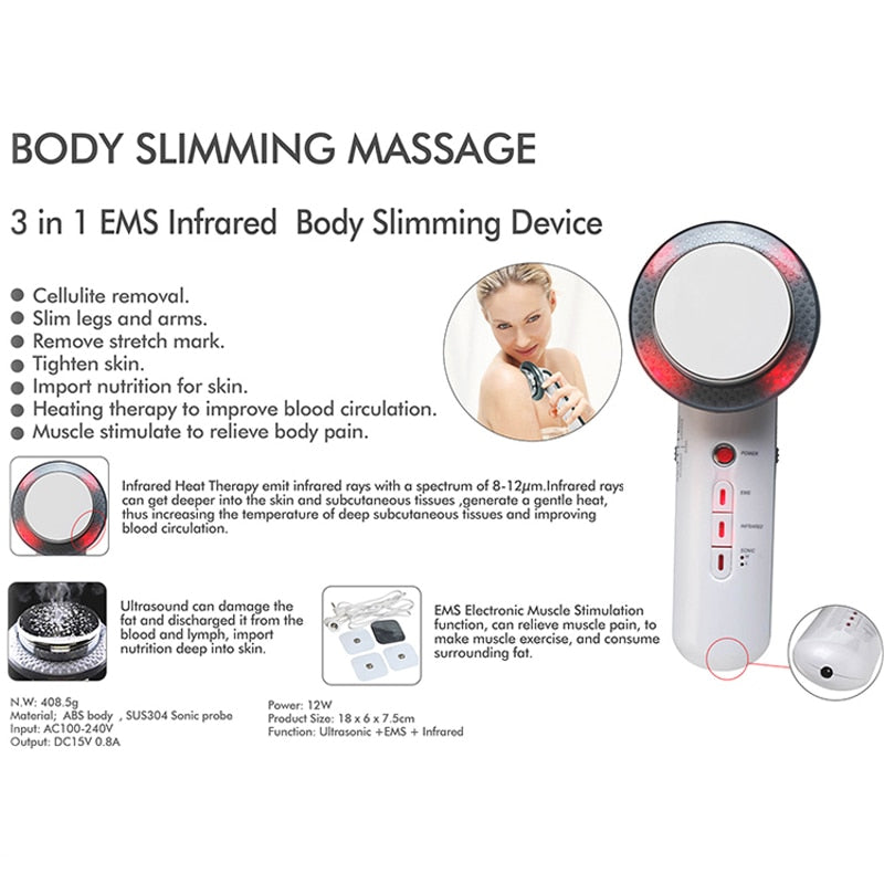 Ultrasonic Galvanic Cellulite Cavitation Wand for Fat Removal & Skin Tightening