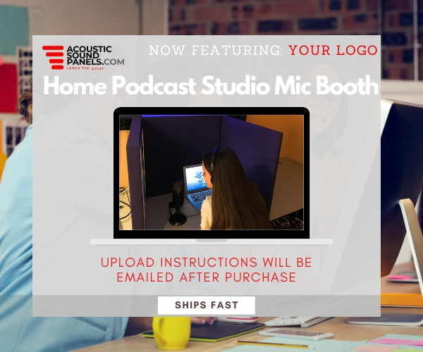 Home Podcast Studio Mic Booth - 2' x 6' (3pc Desktop Version) - Acoustic Sound Panels