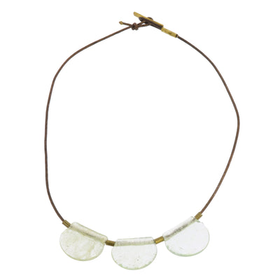 Playa Brass Necklace, Glass Drop