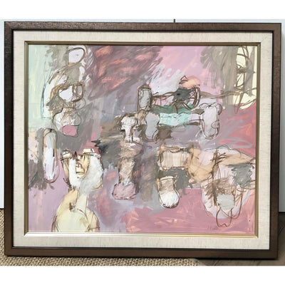 1950's Vintage Pink Abstract Painting - Original