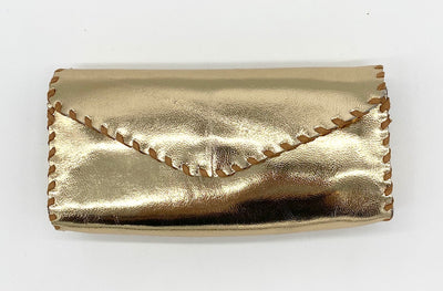 Gold Metallic Eyeglass Case with Hand Stitching