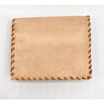 Leather Folding Credit Card Wallet - Natural