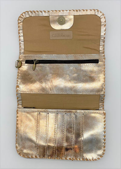 Metallic Antique Gold Folding Wristlet Wallet