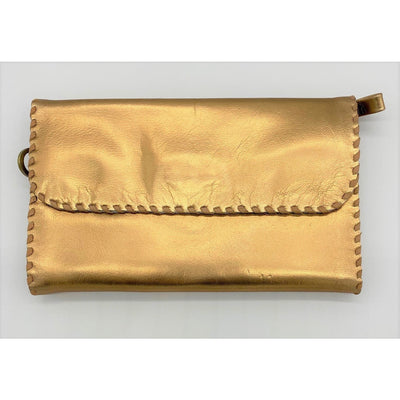 Metallic Copper Folding Wristlet Wallet