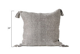 Brown/Black Striped Square Cotton Woven Pillow with Tassels (Set of 2 Colors)