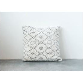 Black & White Square Cotton Tufted Pillow