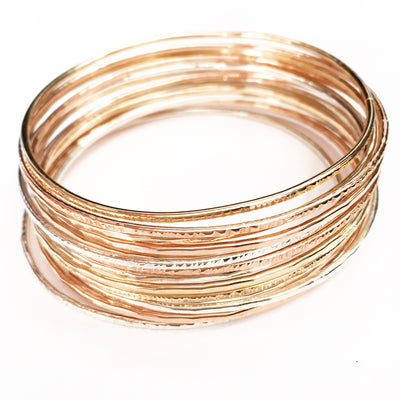 Robyn Bangle Choppy - Gold Fill