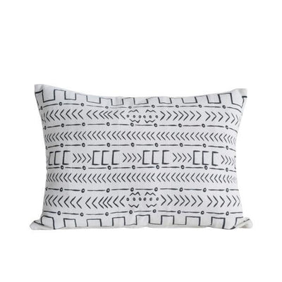 Black & White African Mudcloth Patterned Cotton Pillow